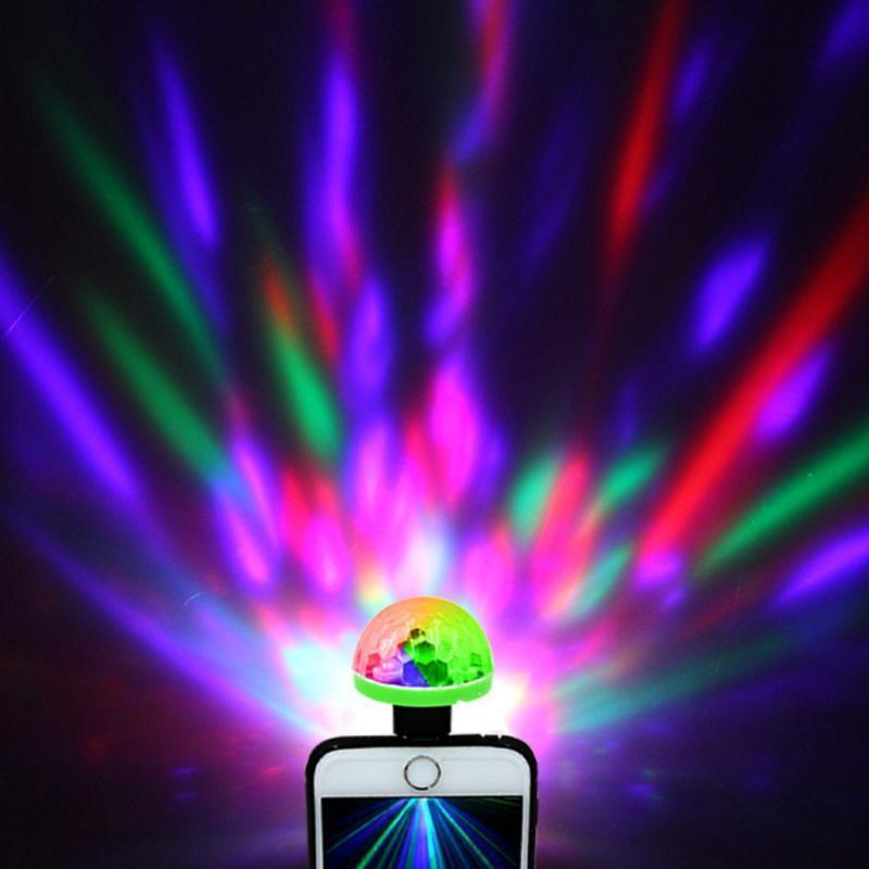 USB Mini LED RGB Disco Stage Light Party Club DJ KTV Home Magic Phone Ball Lamp