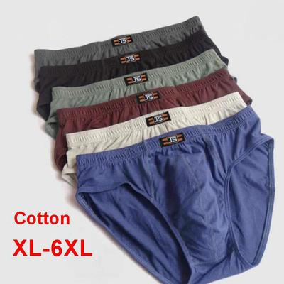6-pack Men's Cotton High-waist Briefs Middle-aged and Elderly Loose Large Size Underwear