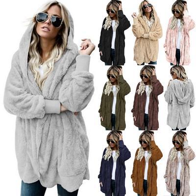 Plus Size Women/'s Winter Fuzzy Fluffy Coat Fleece Fur Jacket Hoodie Warm Outwear