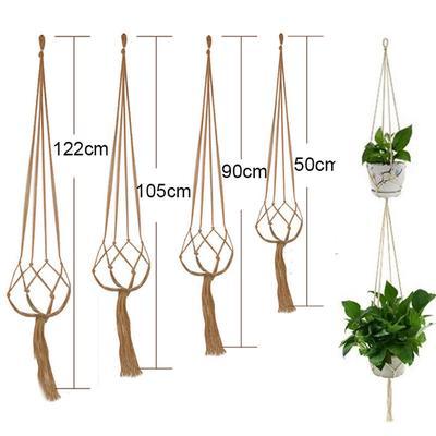 50/90/105CM Horticultural Green Flower Pot Vintage Macrame Plants Hanger Hook Flower Pot Holder Legs String Hanging Rope Wall Art Decoration
