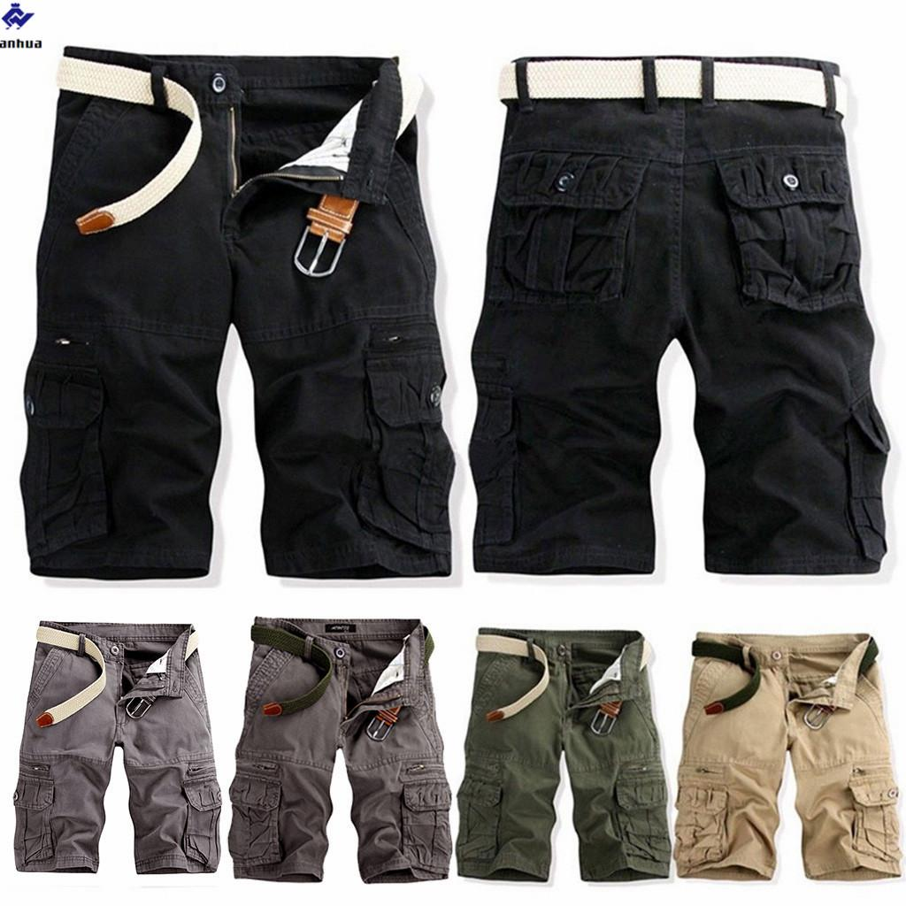 Sports Pants Gym Cargo Beach Shorts Mens Casual Pure Color Outdoors Pocket Beach Work Trouser Cargo Shorts Pant