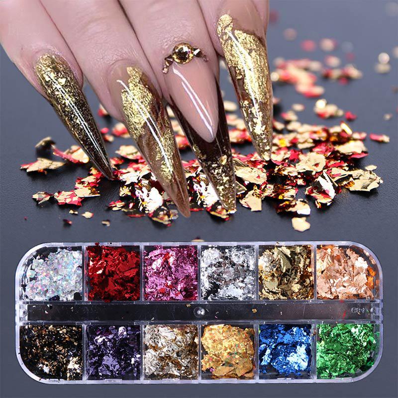 Ногти блестки Алюминий Нерегулярные хлопья Ногти Искусство Украшения Зеркало Блеск Фольга фото