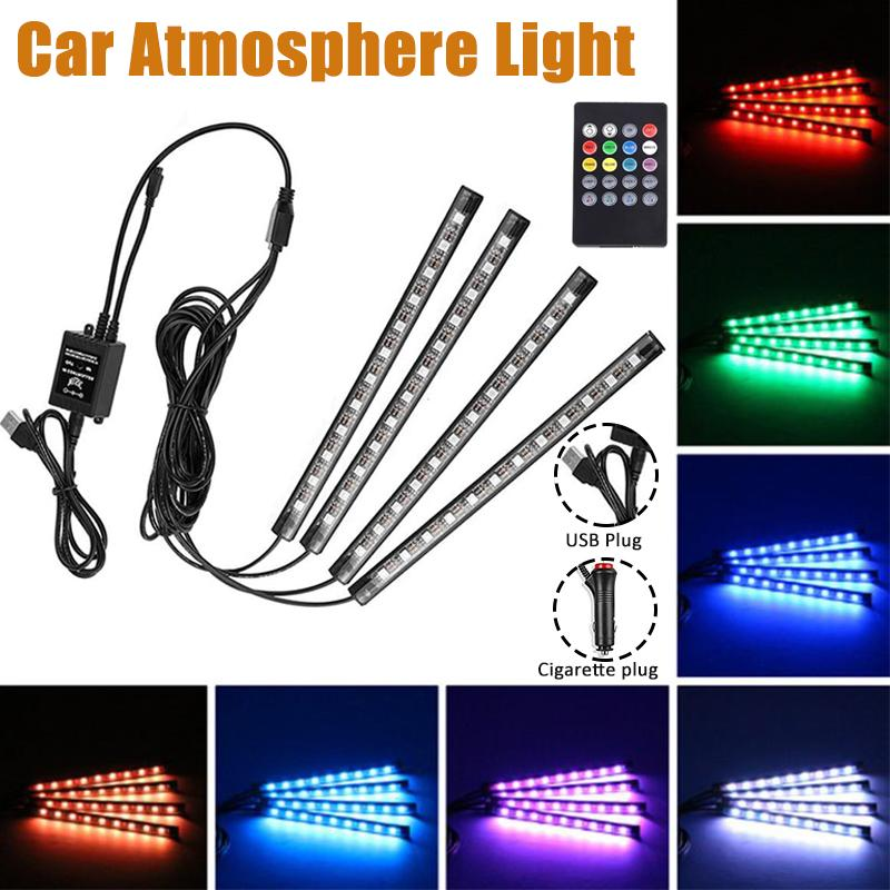 4PCS 7 Color 9 LED Neon Strip Lights Music Remote Control Car Interior Lighting