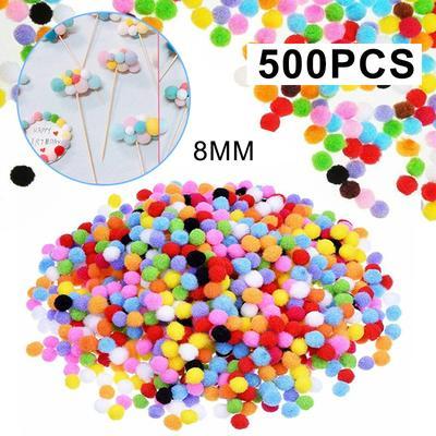 Mayitr 500Pcs DIY Mixed Color Mini Soft Fluffy Pom Poms Ball 8mm for Kids Tool