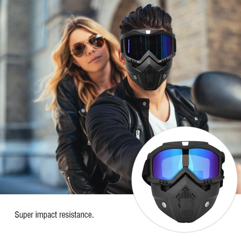 Motorcycle Paintball Face Detachable Goggles Helmet Glasses Mask Snowboard Eye