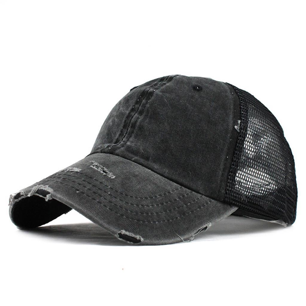 URIBAKY Ponytail Messy Buns Trucker Plain Baseball Visor Cap Unisex Hat