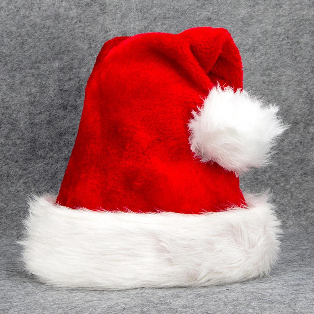 UNISEX LADIES XMAS PLUSH GLITTER SANTA HAT CHRISTMAS PARTY FANCY DRESS CAP HAT