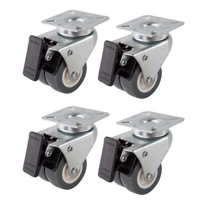 Color : D Casters 1PCS 2 Inch Flat Trolley Universal Wheel with Brake Adjustable Support Castors Heavy Duty Metal