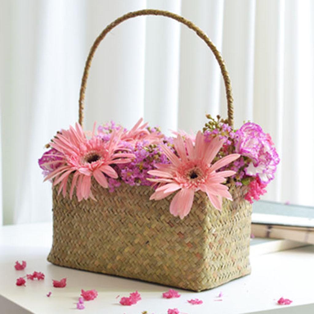 Square Handmade Natural Color Food Flower Storage Basket 25cm for ...