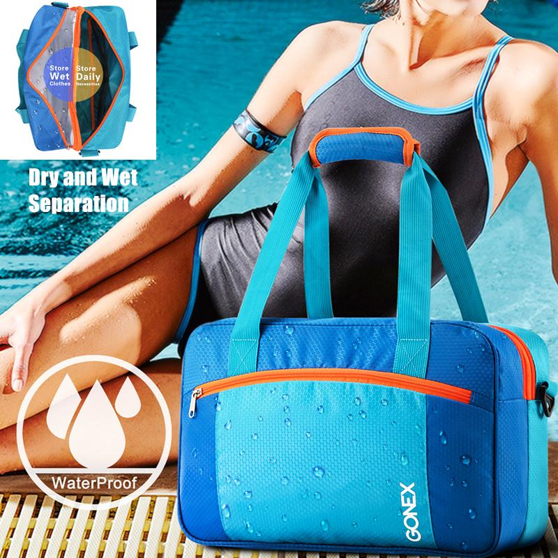 Gonex Large Capacity Swim Bag Swimming Pool Wet Clothes Tote Bag Dry And Wet Separation Swimming Buy From 21 On Joom E Commerce Platform