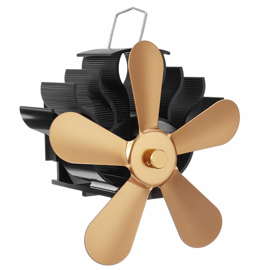 Large Airflow 5-Blade Heat Powered Gas Alloy Burners Fireplace Stove Fan Blade