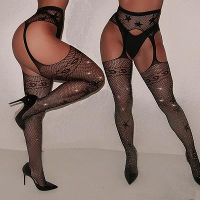 Sexy Women Glitter Rhinestone Fishnet Mesh Stockings Tights Pantyhose Pretty