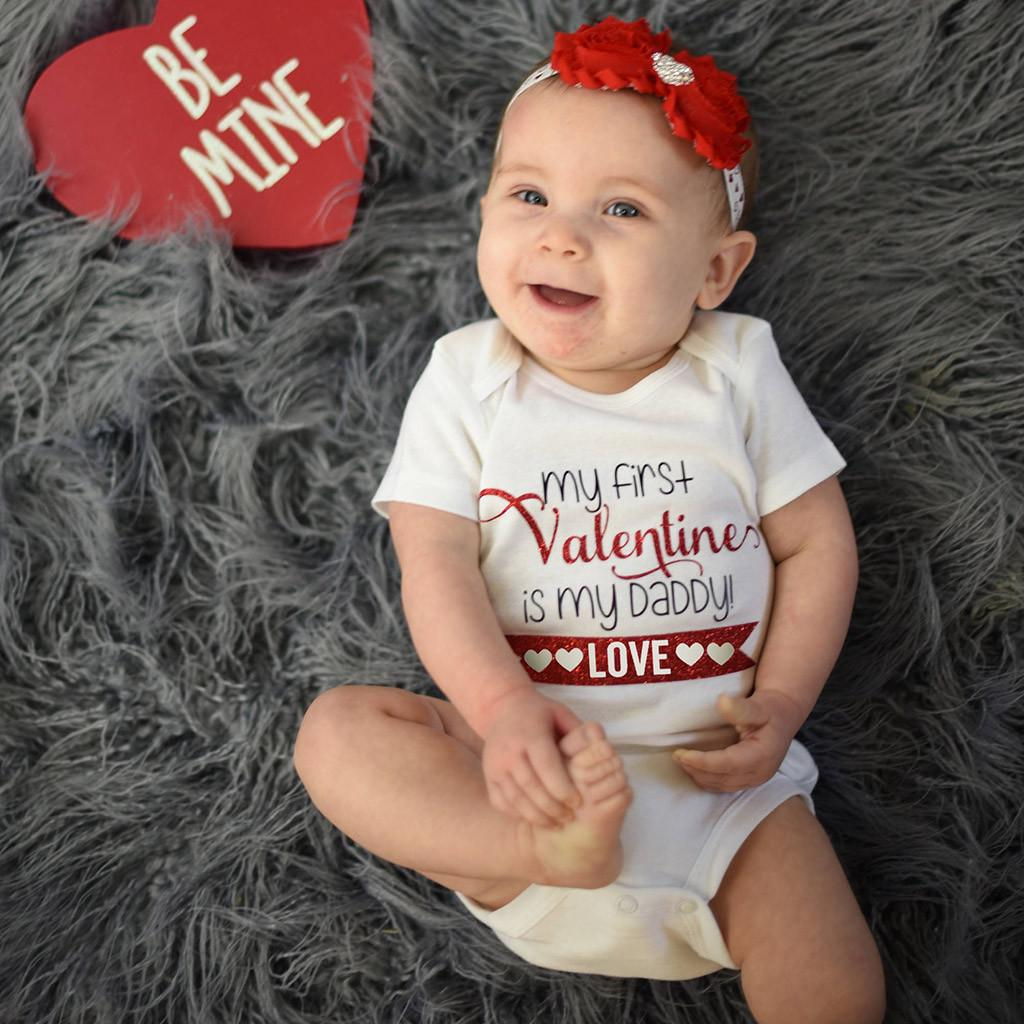 Newborn Infant Baby Girl Letter Romper Bodysuit Valentine Outfits Clothes