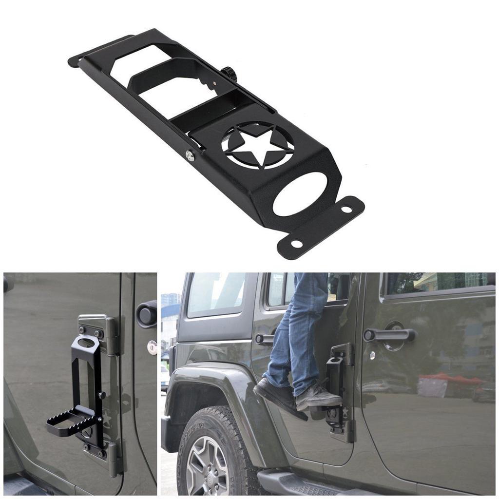 blue-net Black Steel Jeep Foot Pegs Exterior Door Hinge Foot Rest Peg Pedal Supple