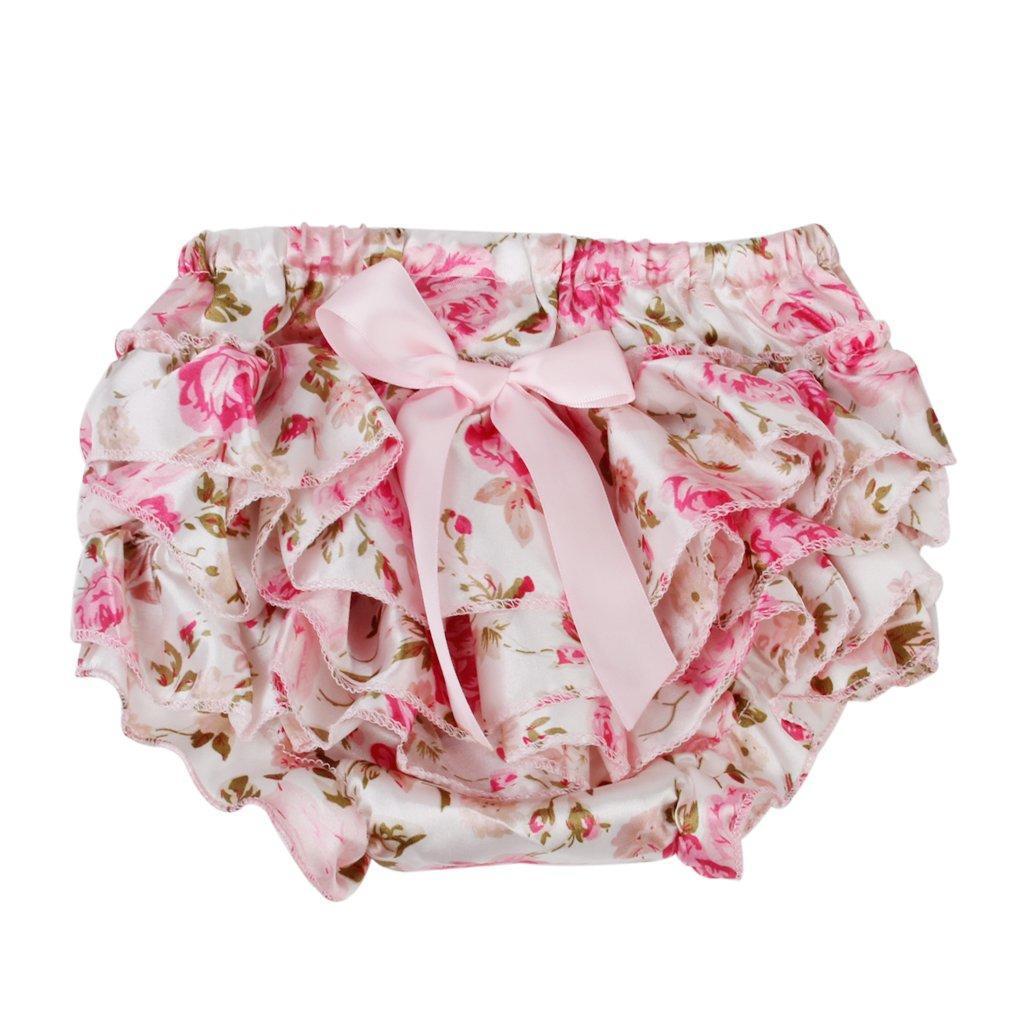 Bebé niña Bowknot rosado volantes pantalones Bloomers cubierta de ...
