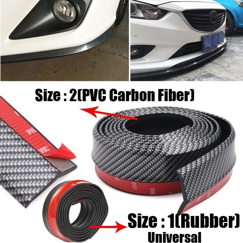 Universal Red Trim Edge Carbon Fiber Look Bumper Lip Splitter Chin Spoiler Body