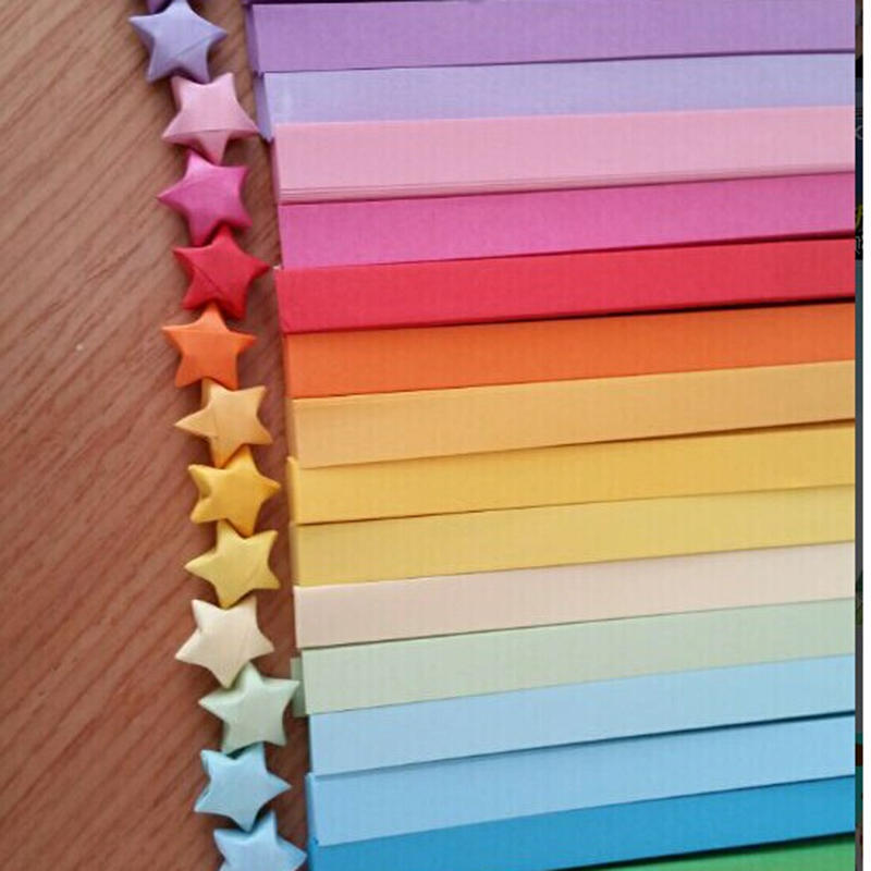 80//160pcs Origami Lucky Star Paper Strips Folding Paper Ribbons 10 Colors DIY