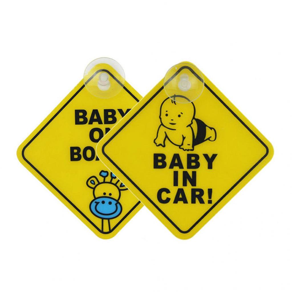 2Pcs Baby On Board Sign for Car Warning Safety Reflective Film Rubber Magnetic Sticker Waterproof Notice Board for Drive Removable