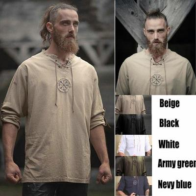 Linen Simple Long Sleeved Linen Shirt Ancient Viking Embroidery Hippie Clothes Viking Men S Shirt Buy At A Low Prices On Joom E Commerce Platform