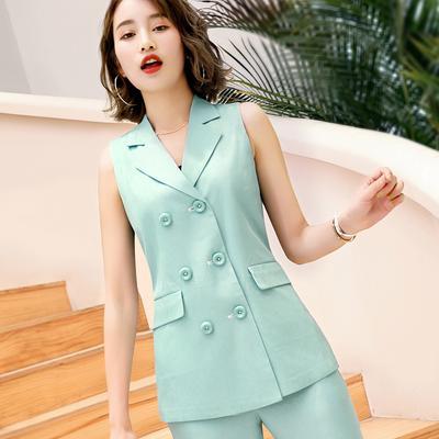 79a1386e7da Summer Women Suit Vest Sets Slim Solid Sleeveless Tops+Ankle-Length Pants  2pcs Women