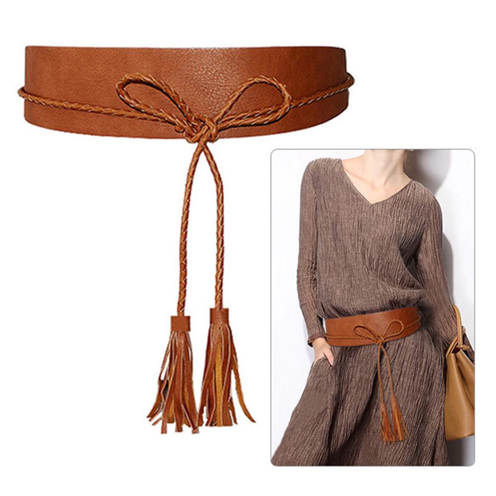 Women PU Leather Waistband Waist Belt Skirt Harness Tassel Adjustable Fringe/_H5