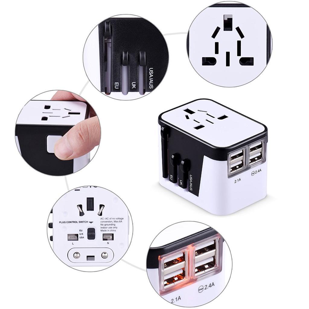 Europe EU Euro Round Plug Adapter 6pc American US to European//Asia Style Plug