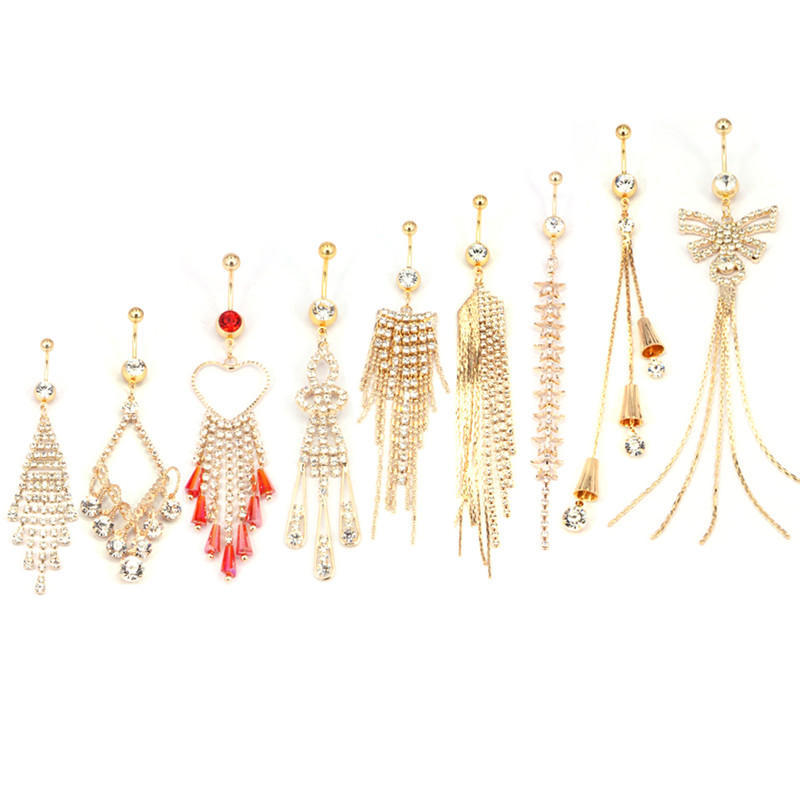 New Rhinestone Tassel Navel Dangle Button Belly Ring Bar Body Piercing Jewelry