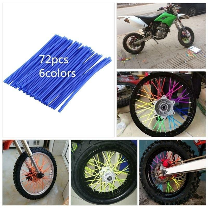 72Pcs Wheel Spoke Wraps Covers Rims Skins Guard Protector Motocross Spoke Sleeve Decoration Red