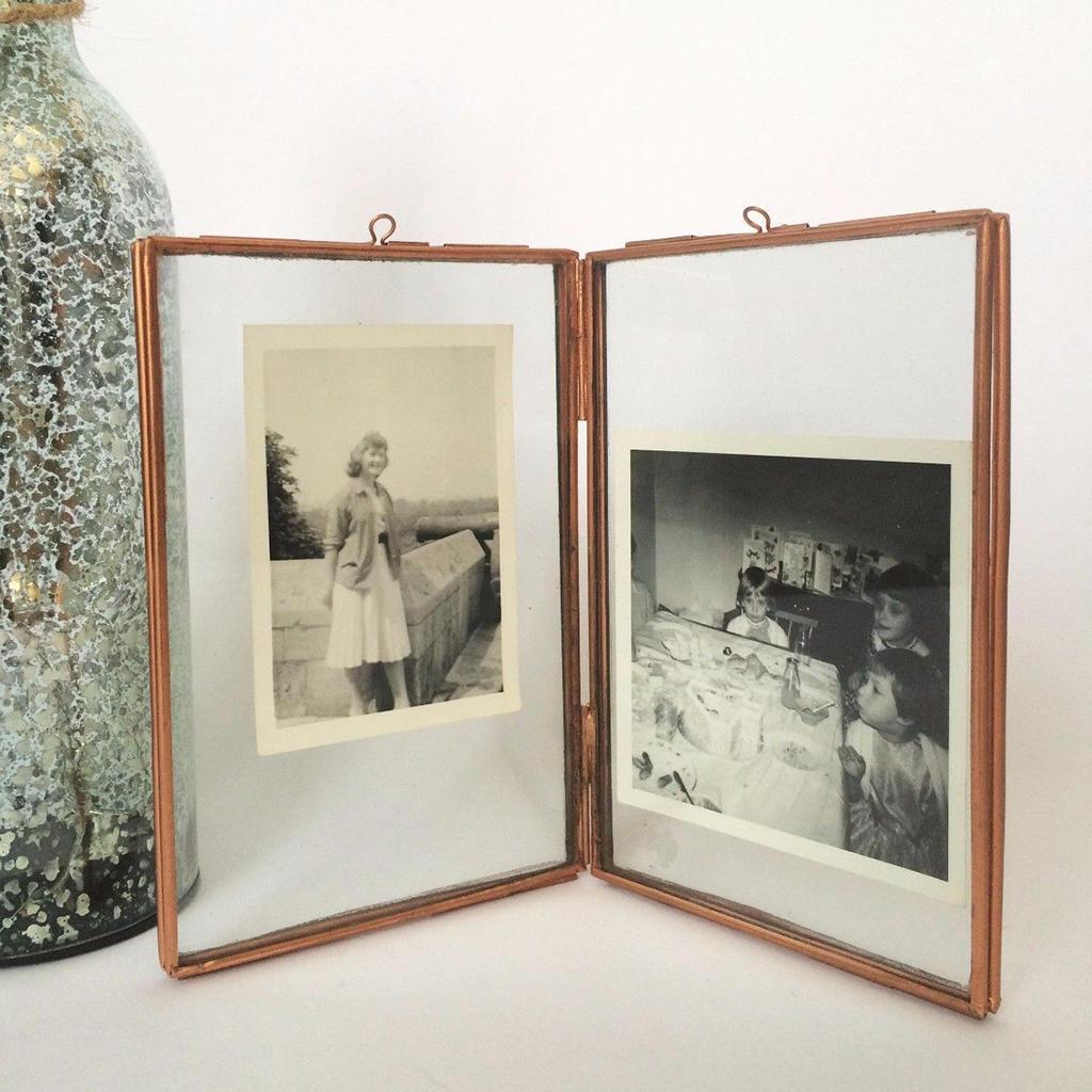 Messing antik Glas Foto Bilderrahmen freistehend Portrait ...