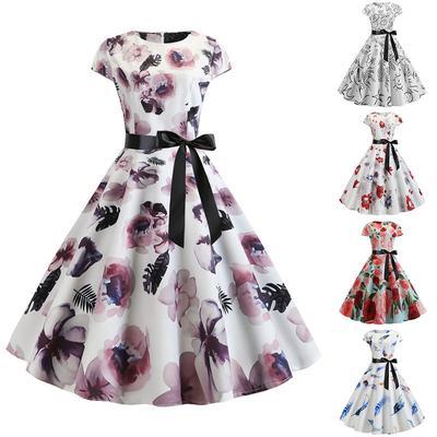 St Patricks Day Dress Womens 50s Sleeveless Hepburn Dress Swing Shamrock Print Party Mesh Splice Big Hem Dress