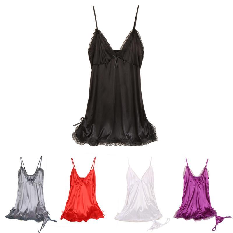 Женская шелковая кружевная ночная рубашка с v-образным вырезом на тонких бретелях, ночная рубашка для сна – купить по низким ценам в интернет-магазине Joom