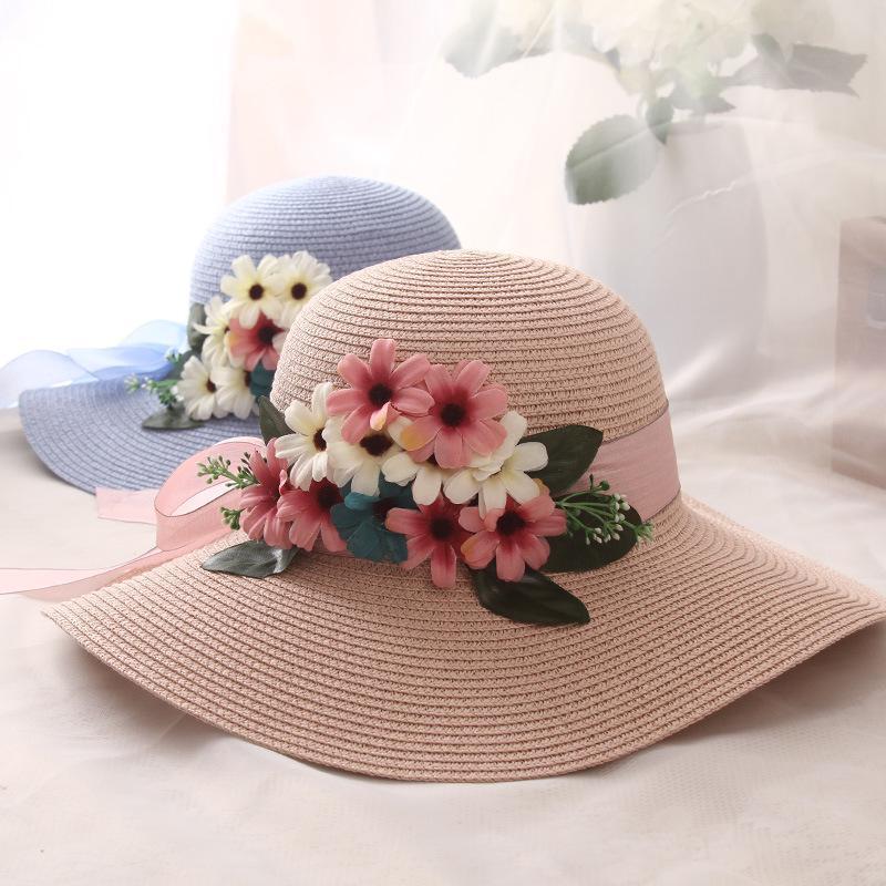 Pearls Sun-Shading Hat Summer lace Flowers Sun Hat Anti-uv Beach Hat Folding Wide Church hat