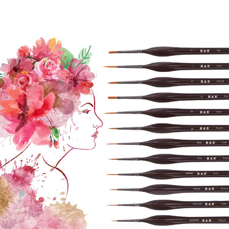 12pcs Miniature Paint Brushes Detail Set for Fine Rock Oil Painting Acrylic Gift