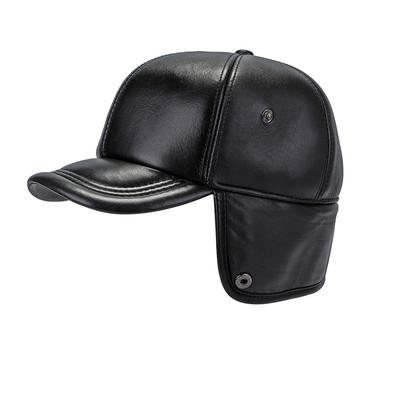 e42dd333c316 Thicken Autumn Winter Sheepskin Leather Baseball Cap With Ear Flaps Russia  Snapback Bomber Hats