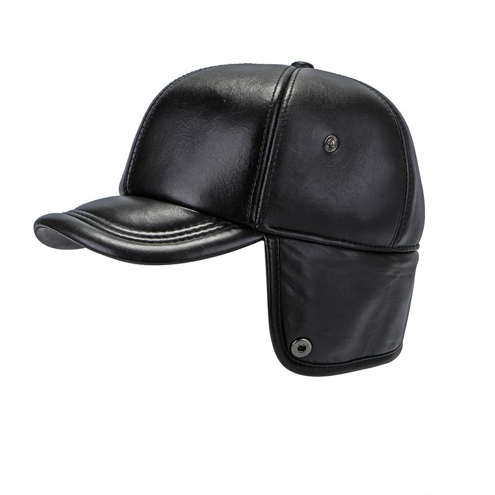 d83cd459652 Thicken Autumn Winter Sheepskin Leather Baseball Cap With Ear Flaps Russia  Snapback Bomber Hats-buy at a low prices on Joom e-commerce platform