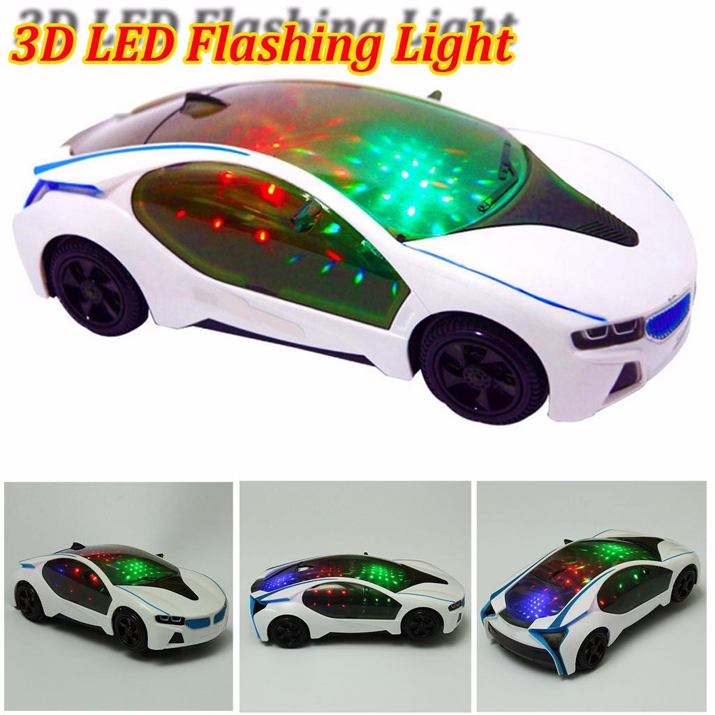 Electric Toy 3D LED Flashing Light Cool Car Music Sound Cars Kids Children Gift