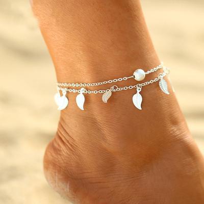 5b9220d7f498 Las mujeres hoja ajustable borlas dos capa del Faux Pearl Beach sandalia  tobillo pie Perla pulsera de cadena