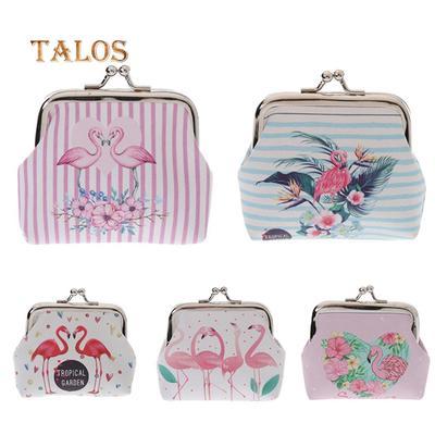 Pink Flamingo Women Leather Zipper Wallet Travel Bags