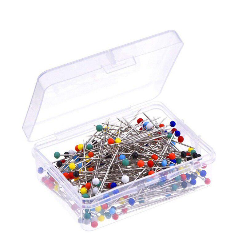 100PCS Sewing Pins Multicoloured Stainless Steel Ball Head Straight Quilting Pins for Dressmaking Jewelry Components Flower Decoration Colorful