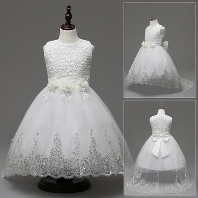 362f893cc Chica de encaje sin mangas Paillette empalmado princesa Puff niños flor  vestido de boda
