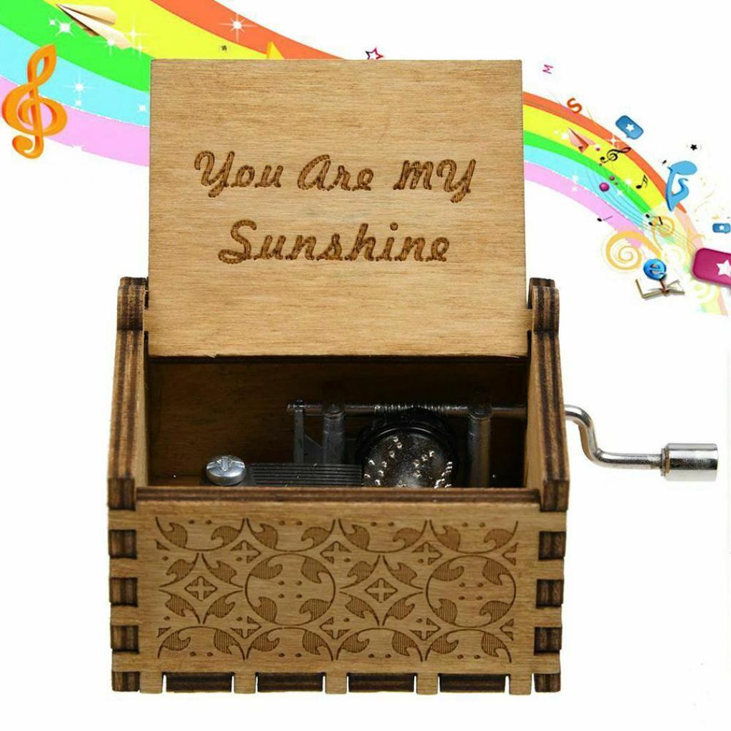 You are My Sunshine Music Box Engraved Wooden Hand Crank Toy Decor New Year Gift