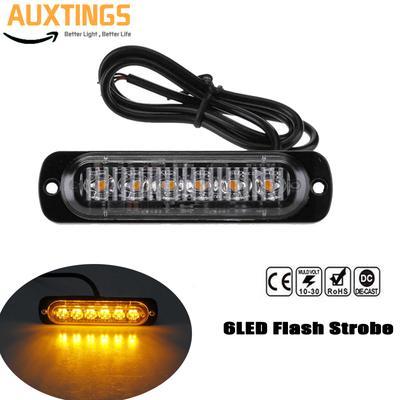 2pc DC12-24V 18Mode 6LED Car Truck Strobe Flash Emergency Warning Light Bar Lamp