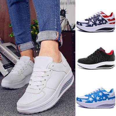 Women/'s Fashion Casual Breathable Running Lace Up Sneakers Trainer Rocking Shoes