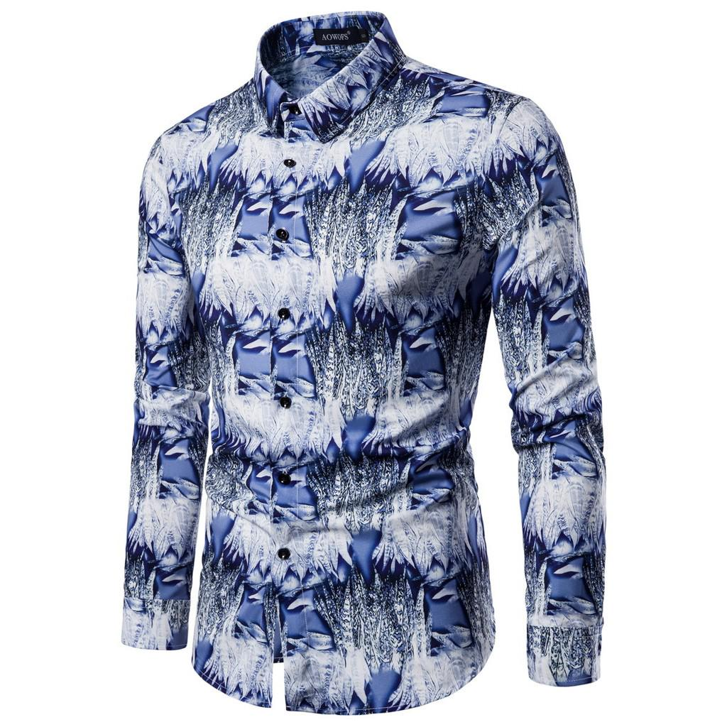 ARTFFEL Mens Long Sleeve Fashion Floral Print Slim Fit Club Floral Button Down Dress Work Shirt