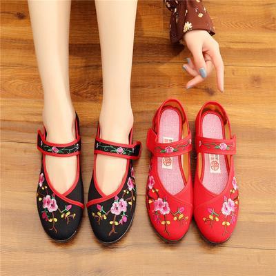 Phoenix Embroidery Ethnic Women Danding Casual Walking Flats Shoes
