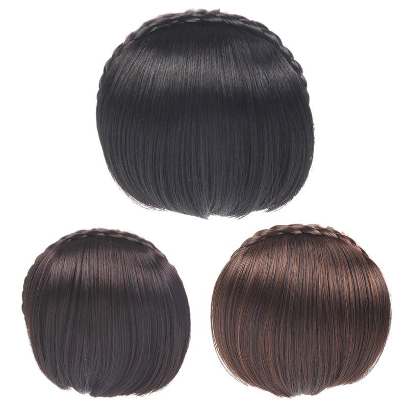 "1/"" Wide Fishtail Braided Natural Black Elastic Headband Wig Cosplay Accessory"