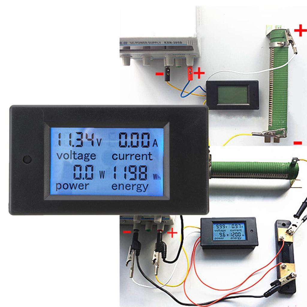 Dc 20a Lcd Combo Meter Voltage Current Kwh Watt Car Battery Pannel Amperemeter Voltmeter Digital Frame 0 100v 10a 1 Of 8