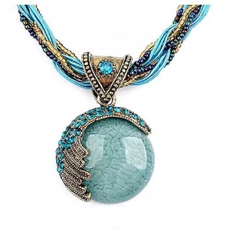 Женщины ювелирные Gem многослойных кристалл бусы цепь ручной богемы стиле ретро ожерелье фото
