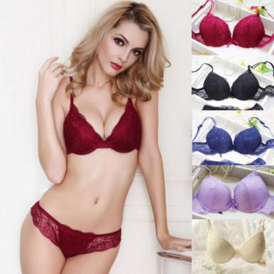 76165c57b Push Up Bra Lace Bra And Panty Set Women  s Embroidery Deep V Lingerie  Knicker