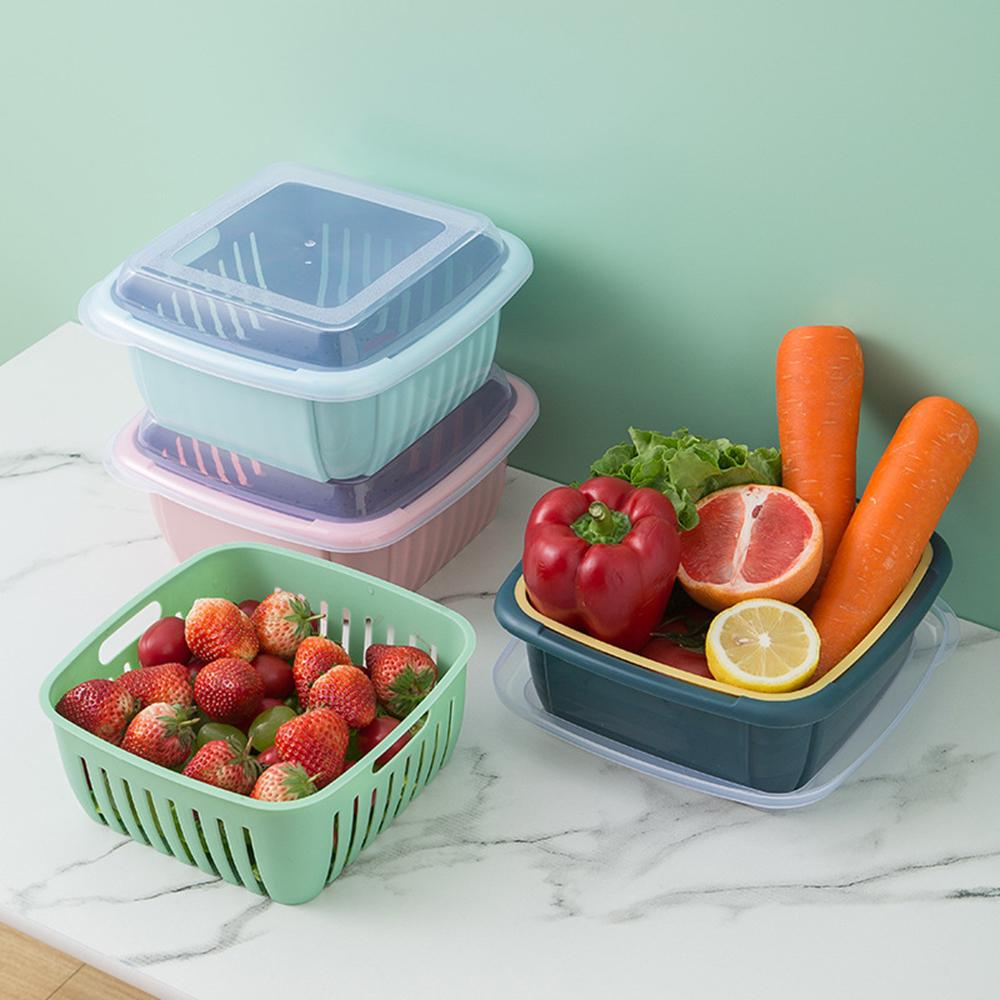 Plastic double sealed fruit and vegetable storage containers with LIDS for kitch